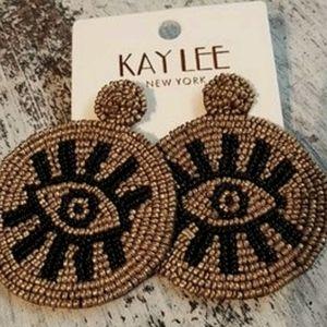 Round Evil Eye Seed Bead Earrings